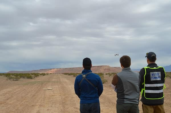 Worldwide faculty members Stefan Kleinke, David Thirtyacre and Scott Burgess participate in recent small UAS testing in Nevada.