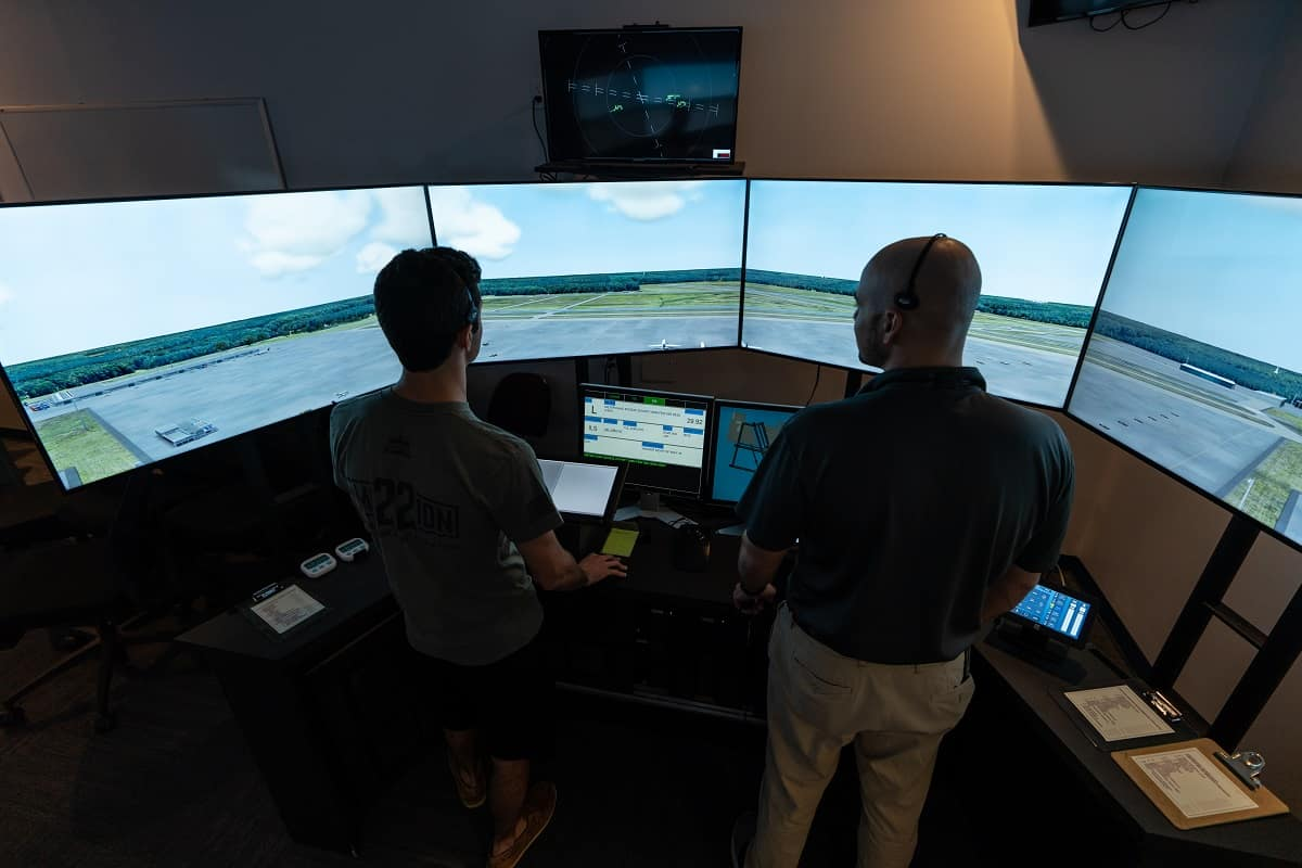 Students learn how to manage air traffic as part of the Air Traffic Management degree in Embry-Riddle's Tower and TRACON labs.