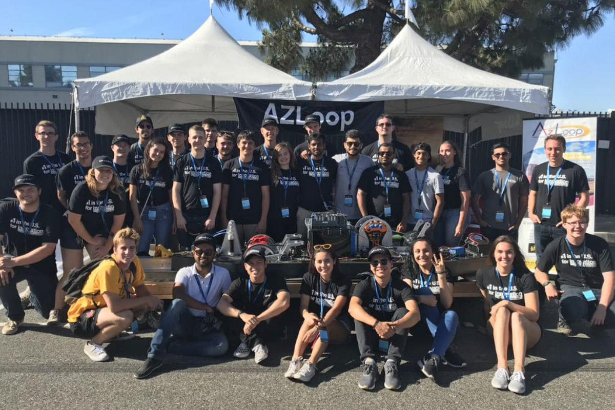 The AZ Hyperloop Team, combining the efforts of Embry-Riddle Aeronautical University's Prescott campus and Arizona State University, in Hawthorne, Calif. for SpaceX's Hyperloop Competition Testing Week