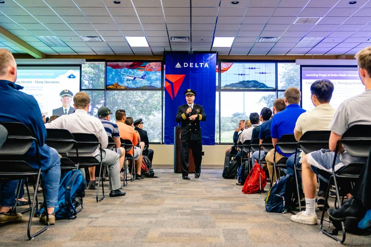 Delta Representative Capt. Patrick Burns addresses Embry-Riddle Prescott Campus students about the new Delta Propel Program Partnership with Embry-Riddle Aeronautical University