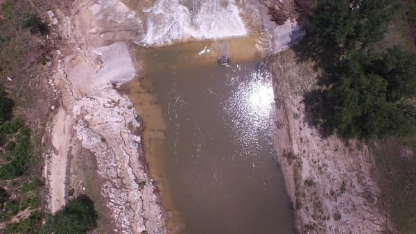 Photo of the Blanco River flooding, taken by unmanned aerial systems