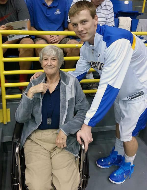 Rita Campos with an Embry-Riddle basketball player