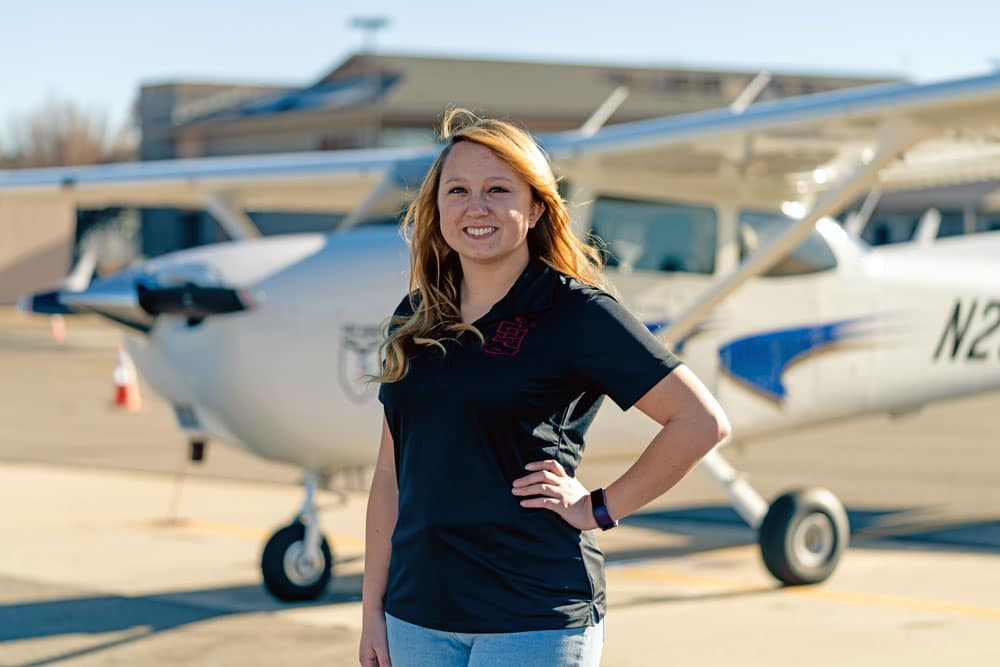 Embry-Riddle student Autumn Tueller on the Embry-Riddle flight line.