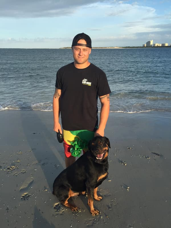 Jake Vernon with dog