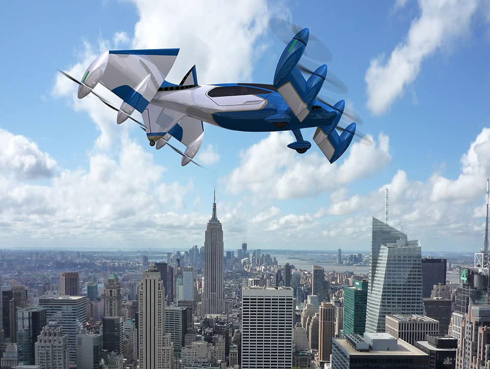 PAVER UAM concept illustration, shown flying over a city.