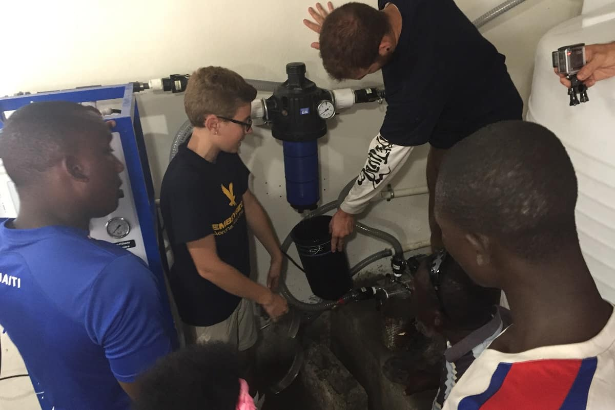 Embry-Riddle students work on a water filtration system