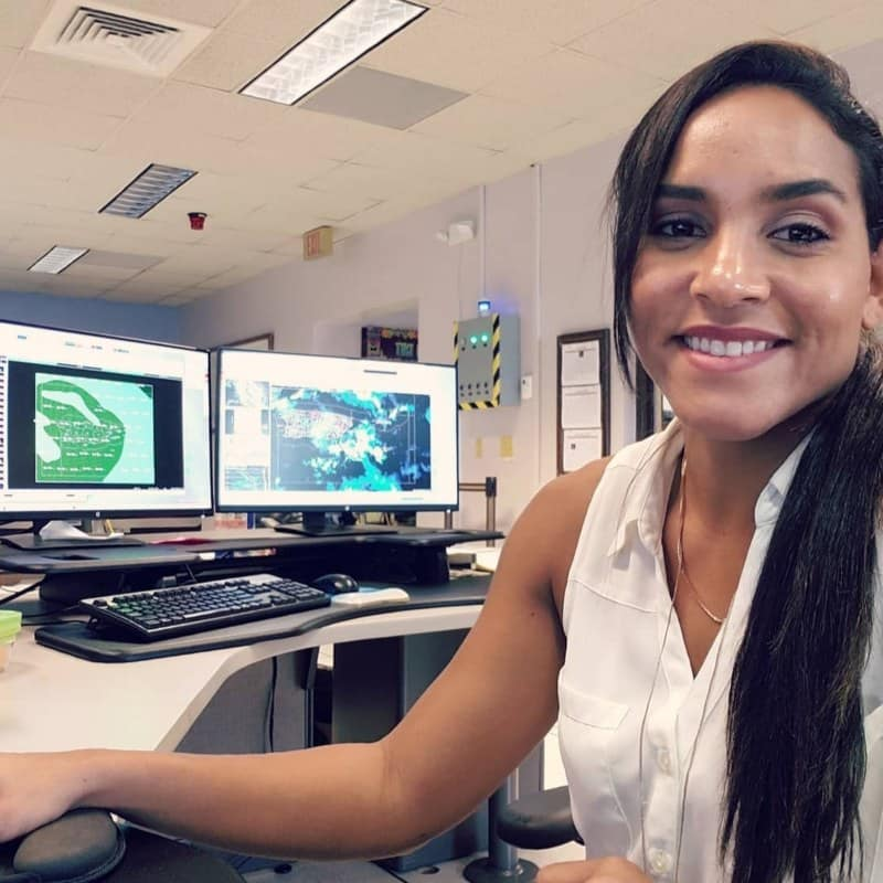 Embry-Riddle Alum Amaryllis Cotto serving in the Air Force Reserve as an Aerial Reconnaissance Weather Officer for the hurricane hunting Weather Reconnaissance Squadron