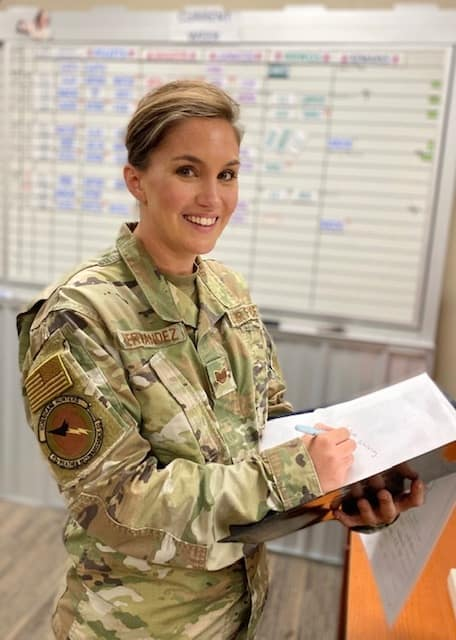 Krystal Hernandez graduated in May with a B.S. in Aviation Business Administration from the Worldwide Campus, is the administrative assistant to the commander of the 53rd Weather Reconnaissance Squadron.
