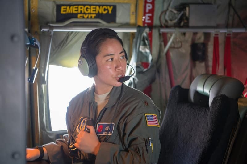 Joyce Hirai, graduate of the first Applied Meteorology class from Embry-Riddle's Prescott Campus in 2008, is now a major in the Air Force Reserve