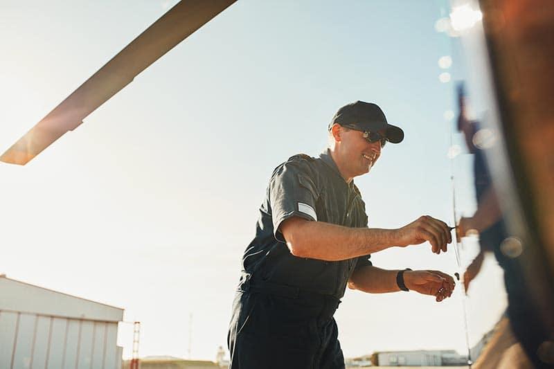 Man inspects aircraft