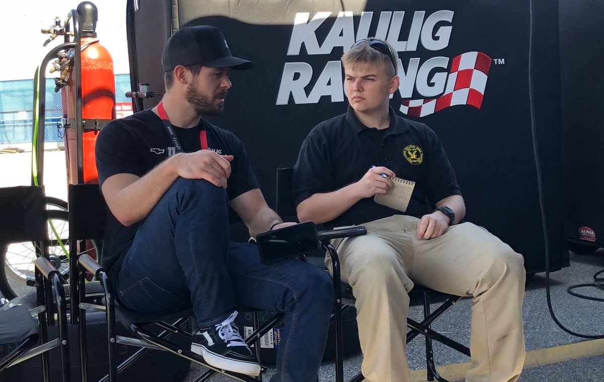 Martin Truex Jr. is interviewed by Embry-Riddle student Dalton Hopkins.