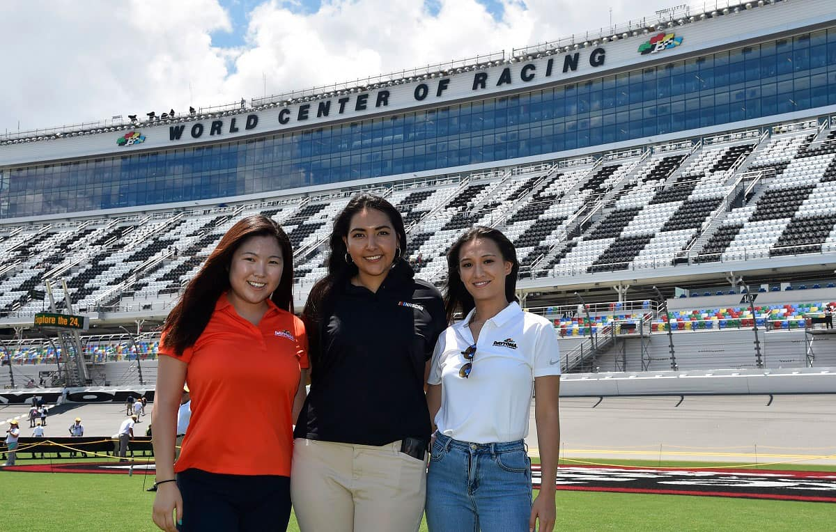 Embry-Riddle students pose for a picture at Daytona Beach International Speedway