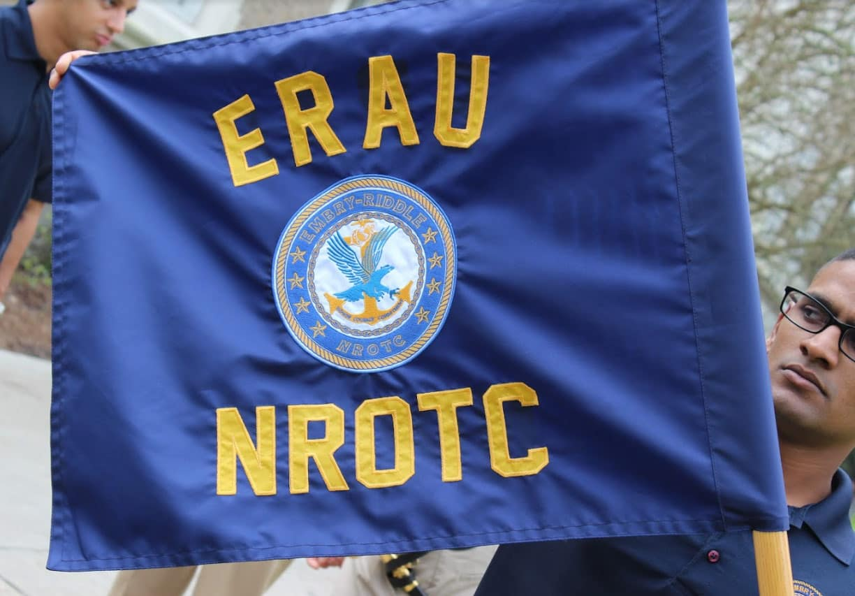the Naval Reserve Officers Training Corps (NROTC) Drill Team Flag
