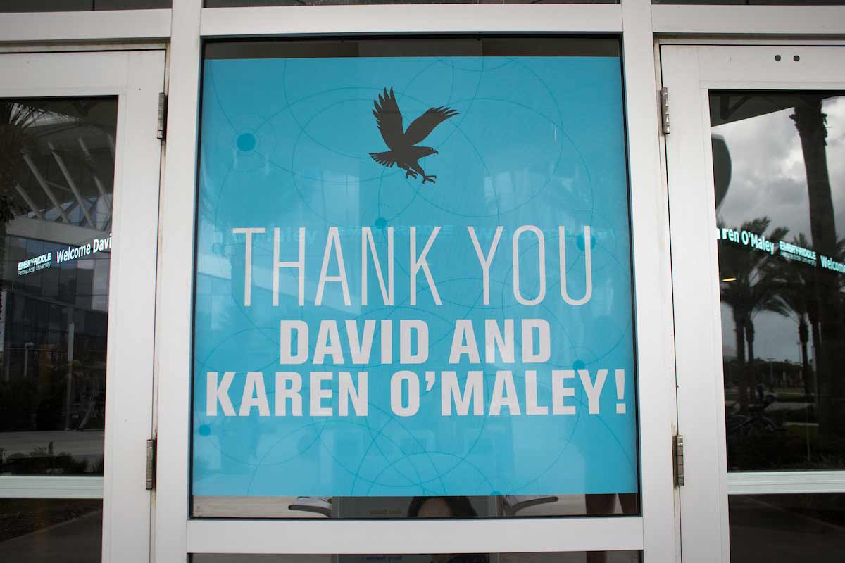 A sign thanking David B. O'Maley for his donation.