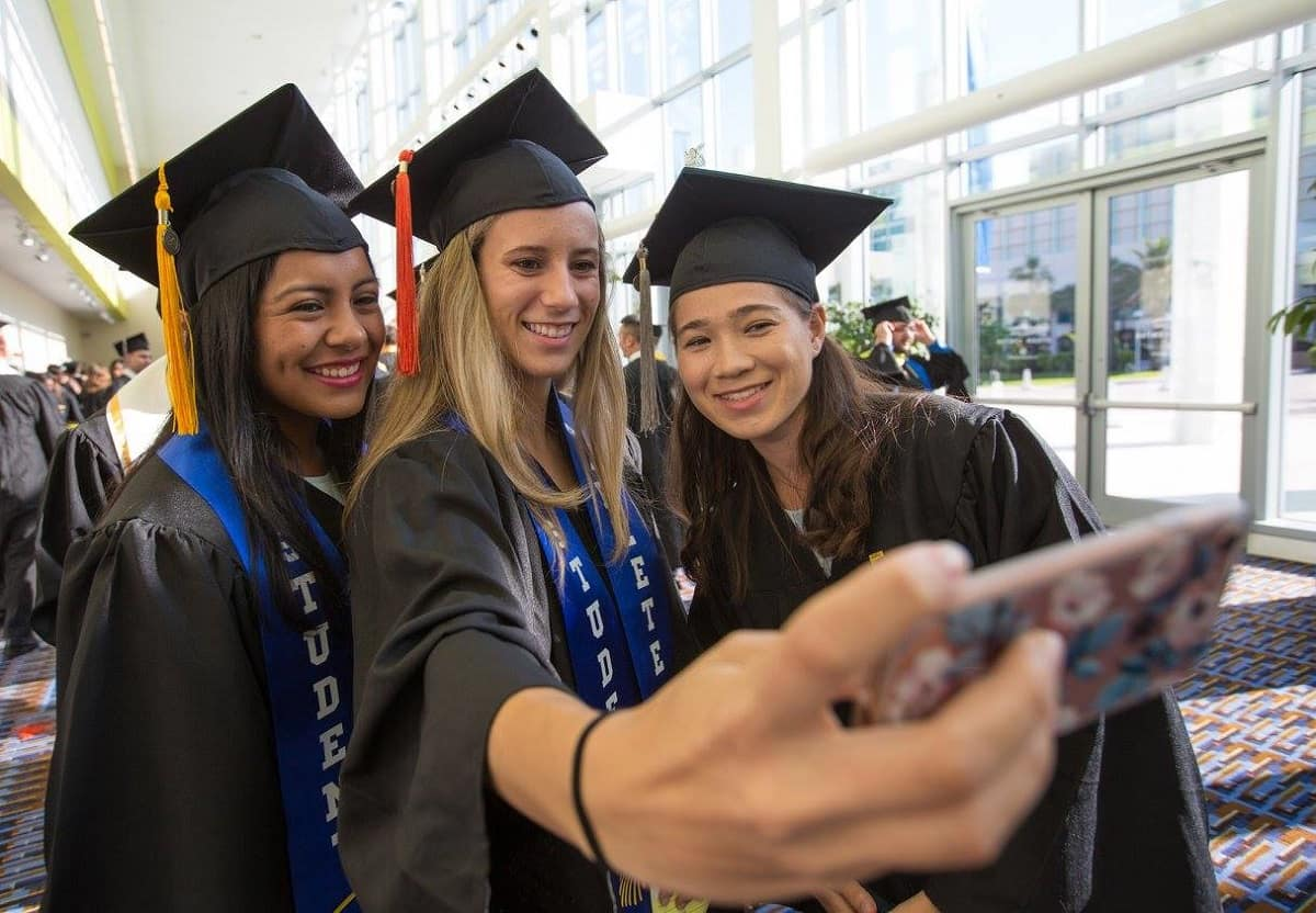 students take a photo at the Daytona Campus 2017 graduation