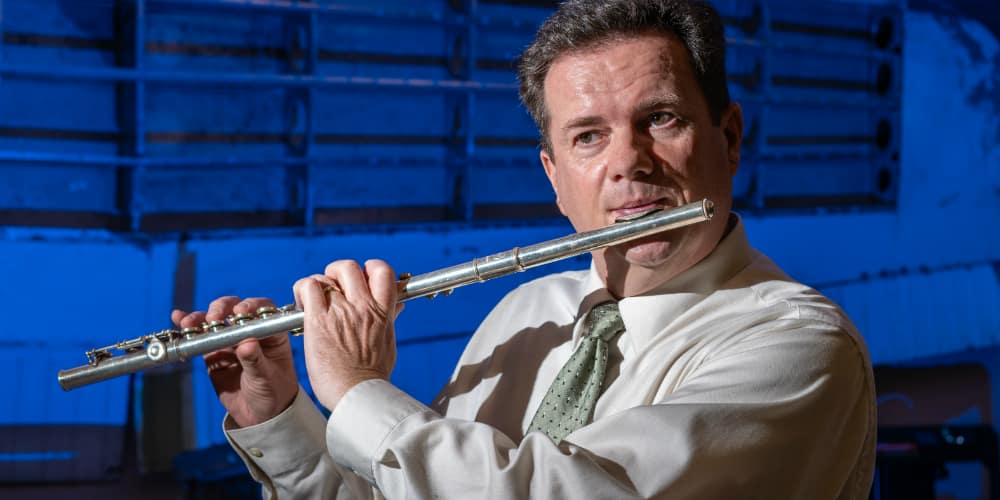 Embry-Riddle faculty member Snorri Gudmundsson, who plays many instruments, including the flute, piano, guitar, bass, drums and trumpet, and has released four CD