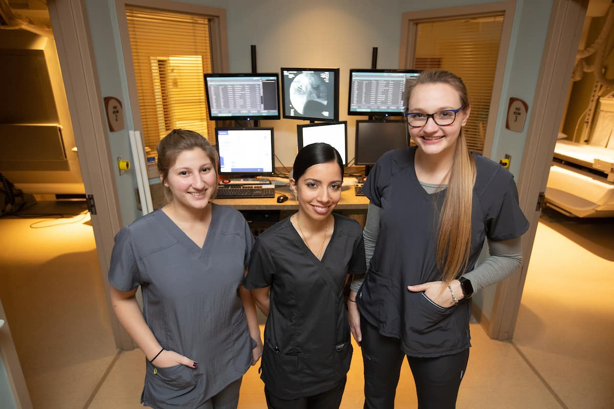 Aerospace Physiology majors Jenifer Schuman, Haleema Irfan and Morgan Ackermann conducted their clinical rotations at Advent Health, in Daytona Beach, Fla. (Photo: David Massey/Embry-Riddle)