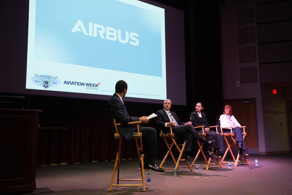 Representatives from Airbus Americas, including alumnus and CEO Jeff Knittel, stopped by Embry-Riddle's Daytona Beach Campus Wednesday, April 10, for a panel discussion.