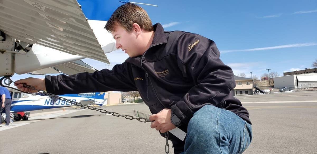 Bob Hoover Legacy Foundation scholarship recipient Matthew Gailey conducts pre-flight checks on the flight line at the Prescott Campus. (Photo: Matthew Gaily)