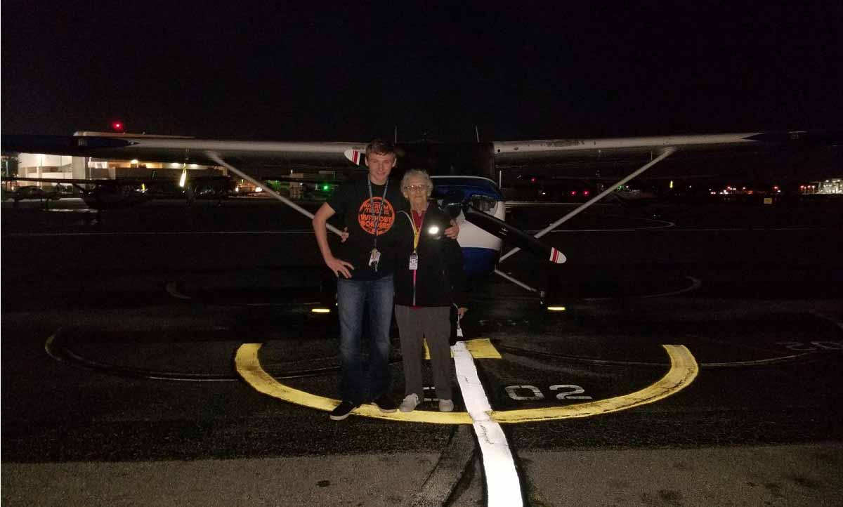 "Adlynn Lay recently took his great-grandmother, ""Grammy Cracker,"" with him on a night flight."