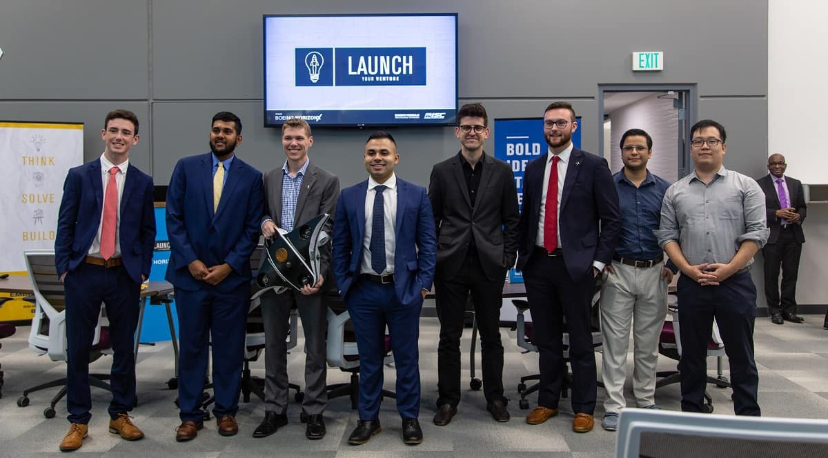 Six finalists competed at Embry-Riddle's annual Launch Your Venture competition, which awarded cash prizes to three firms. (Photo: Embry-Riddle)