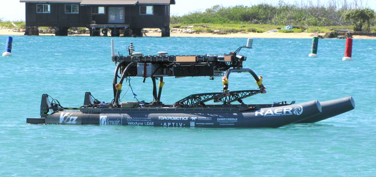 At 16 feet long, the Minion autonomous surface vessel, designed by Embry-Riddle engineers, offers sophisticated navigation and control.