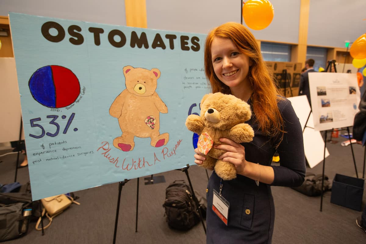 Junior Deanna Rapp's company, Ostomates, won a Judge Prize and finished second place in the People's Choice voting at the 2019 TREP Expo competition for aspiring entrepreneurs.