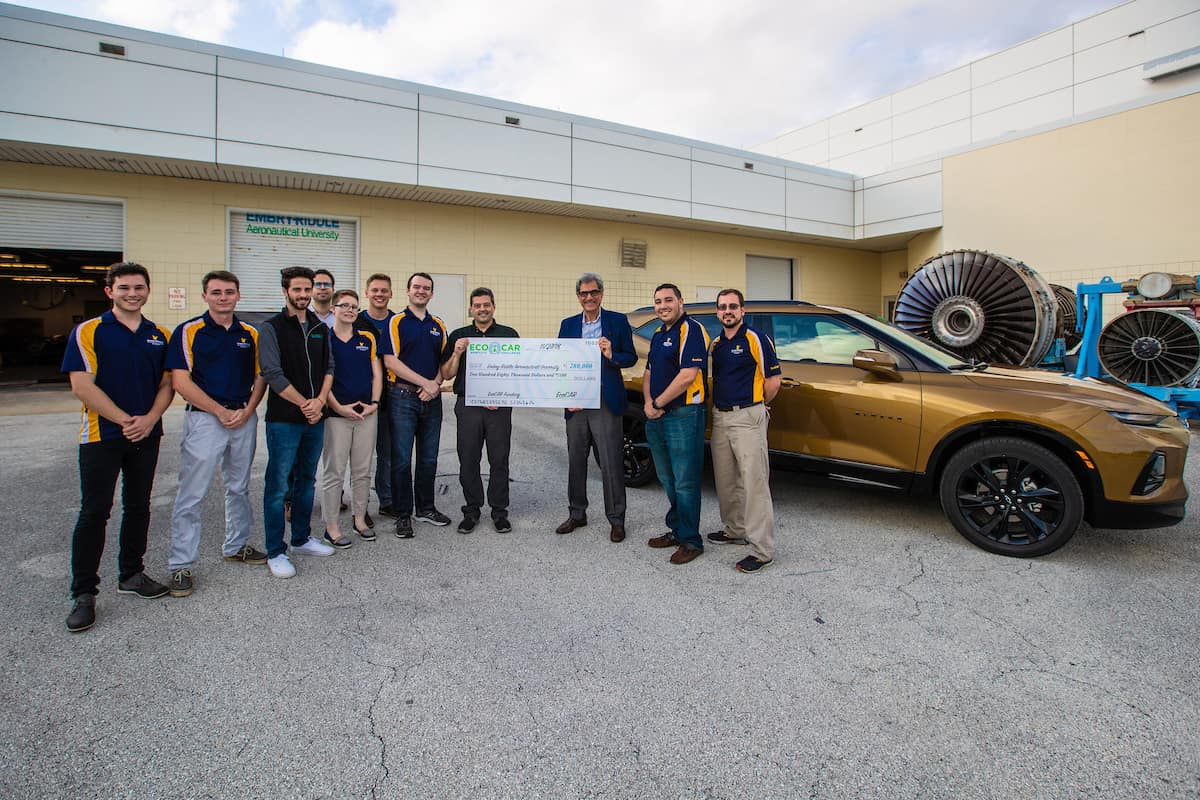 Embry-Riddle's EcoCAR Mobility Challenge team accepted a brand new Chevrolet Blazer and a check for $280,000 from General Motors Oct. 24. The student-team will spend the next three years converting the SUV into a hybrid vehicle with autonomous features.
