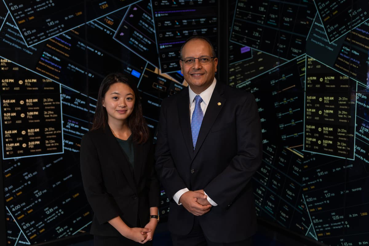 Master's student Ching-Wen (Kelly) Huang is shown with her mentor, Embry-Riddle faculty member Dr. Ahmed Abdelghany, who has developed a new way to calibrate computer models that predict travelers' choices, while considering capacity-constrained demand