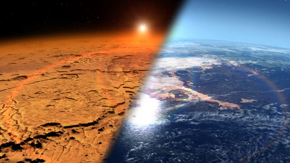 Conceptual image depicting the early Martian environment (right) – believed to contain liquid water and a thicker atmosphere – versus the cold, dry environment seen at Mars today (left). (Credits: NASA's Goddard Space Flight Center)