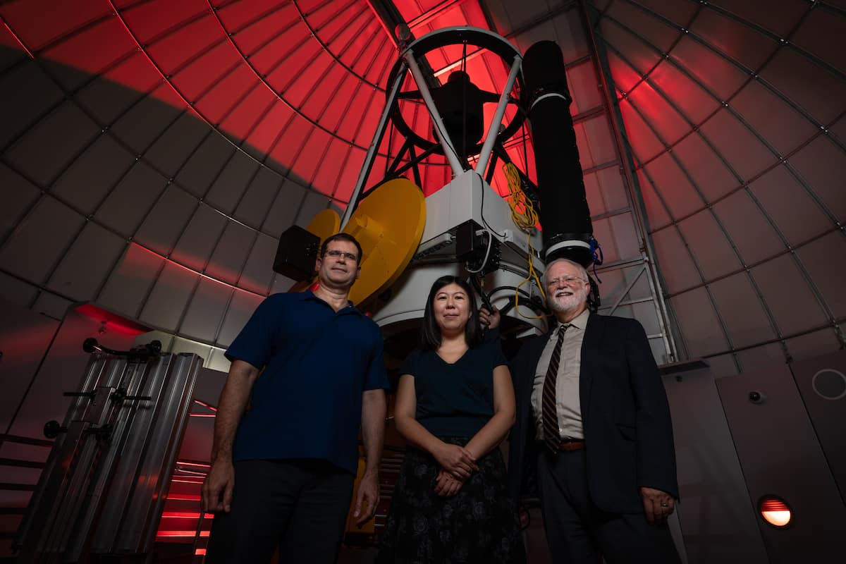 Shown with Embry-Riddle's one-meter research-grade telescope are star investigators (L-R): Dr. Derek Buzasi, the Whitaker Eminent Scholar in Science at Florida Gulf Coast University, Dr. Tomomi Otani, assistant professor of Physics and Astronomy at Embry-Riddle, and Dr. Terry Oswalt, professor of Engineering Physics and chair of Embry-Riddle's Physical Sciences Department. (Photo: Embry-Riddle/Daryl LaBello)