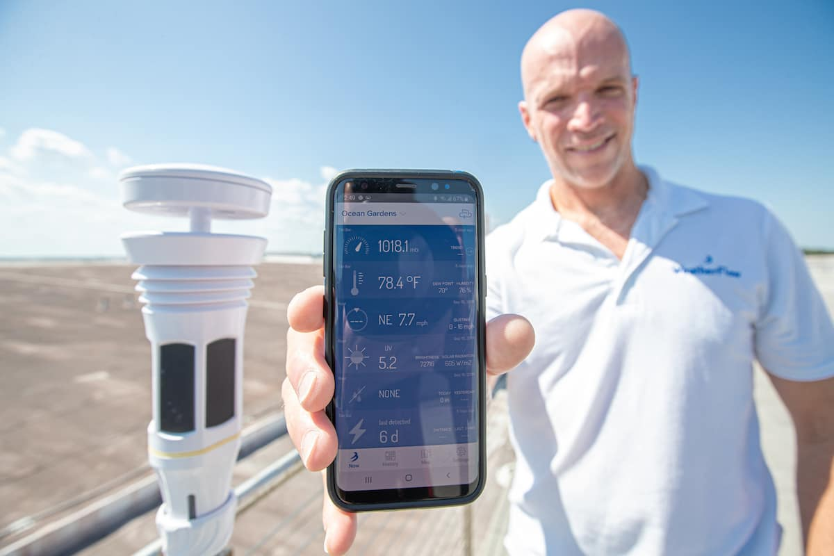 WeatherFlow Inc.'s Tempest weather system delivers real-time data in a smart phone app. (Photo: Embry-Riddle/David Massey)