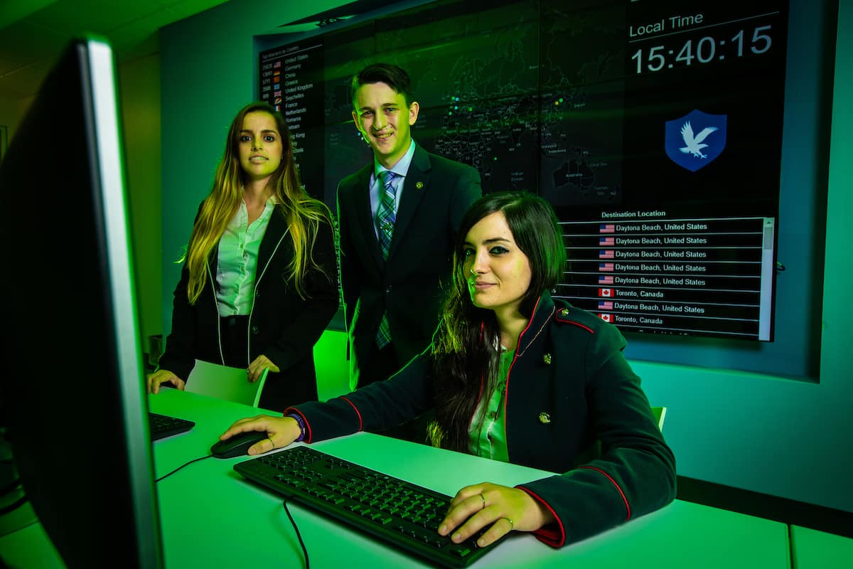 Graduate students Anna Baron and Noemí Miguélez, along with undergraduate Joshua Gordon, recently staged an aviation cybersecurity competition in Barcelona, Spain.
