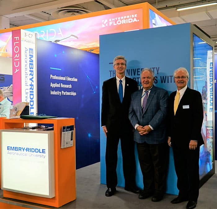 Embry-Riddle Board of Trustees Chairman Mori Hosseini (middle) and Trustee Dr. Charles Duva (right) were on hand at the Florida Pavilion opening at the Paris Air Show, where President P. Barry Butler (left) announced the university's new partnership with Arralis.