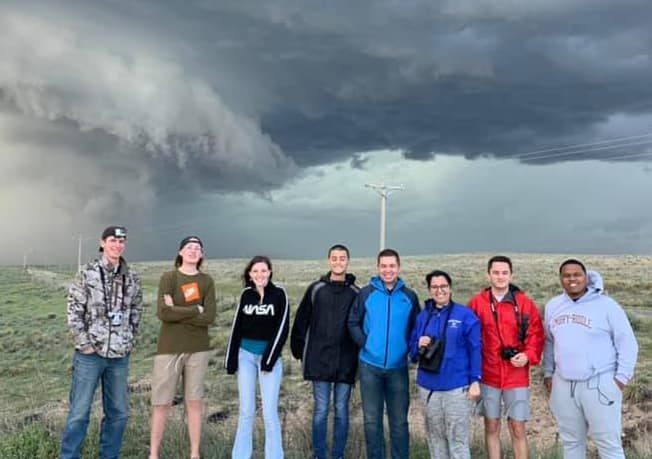 Taking part in a recent summer study trip focused on meteorology were students (L-R) Austin Curtis, Corey Eberly, Sarah Roddey, Endri Bejte, Tristyn Bemis, Casandra Penuela, Wyatt Morin and Ivan Gumbs. They were joined on the trip by faculty members Shawn Milrad and Thomas A. Guinn as well as IT Specialist Robert Haley. (Photo: Thomas A. Guinn)