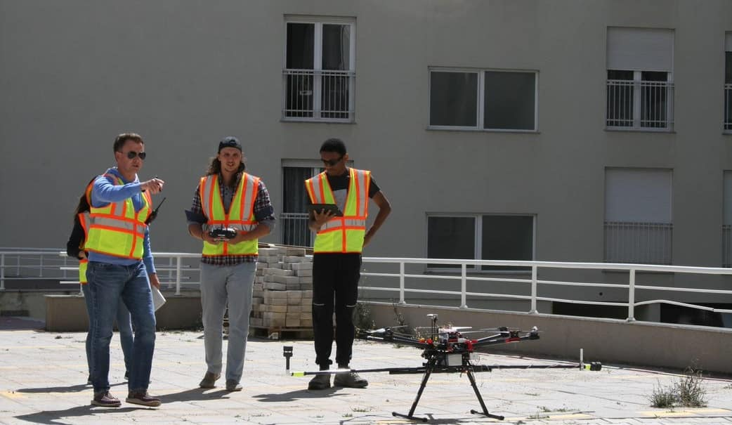 Kevin Adkins, Peter Wambolt and Jonathan Williams study the urban atmospheric boundary layer using UAS
