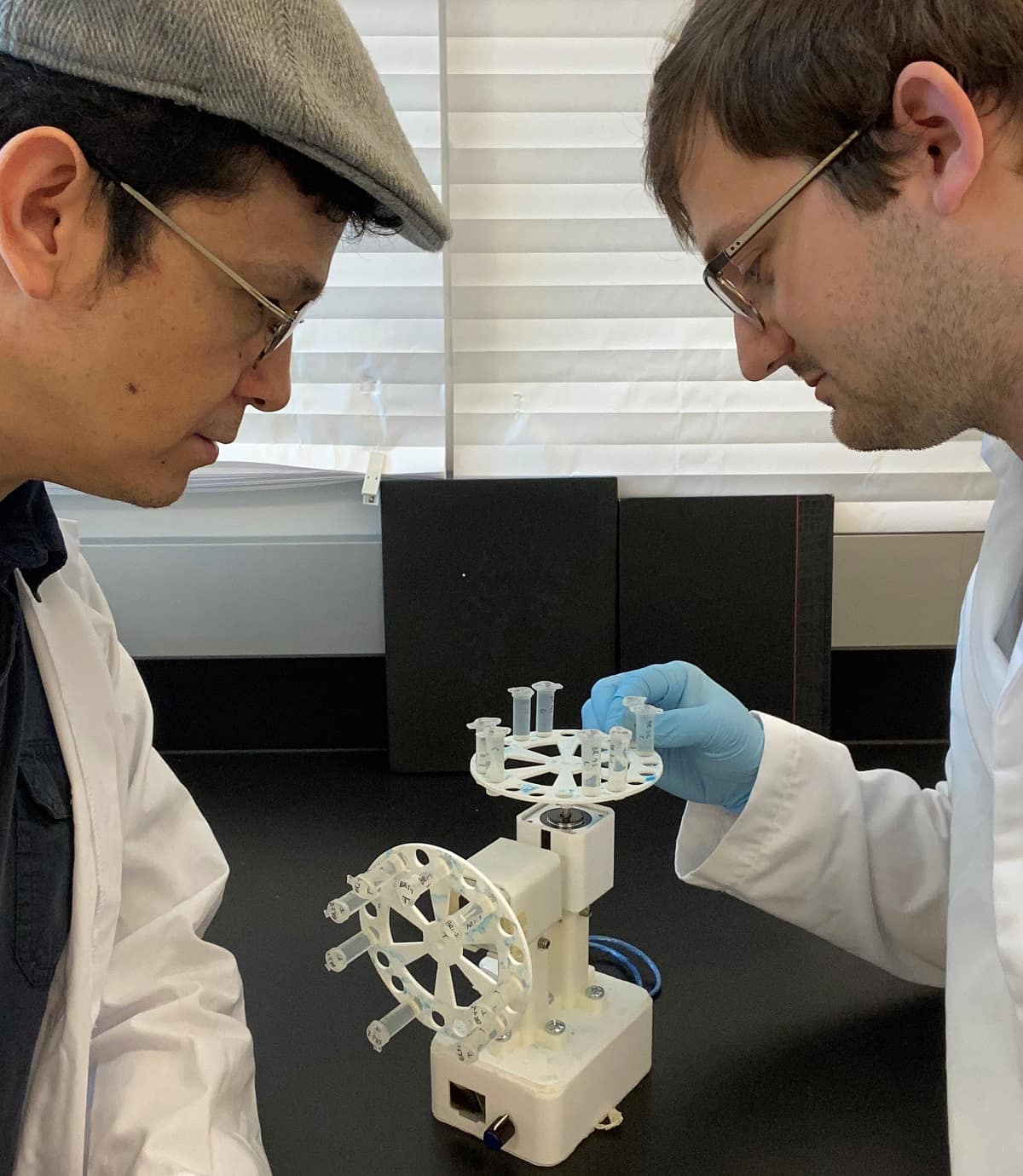 Dr. Hugo Castillo and Mechanical Engineering graduate student Collin Topolski research space food cultivation by emulating microgravity on Earth, with the help of 3D-printed tool called a clinostat. (Photo: Hugo Castillo)
