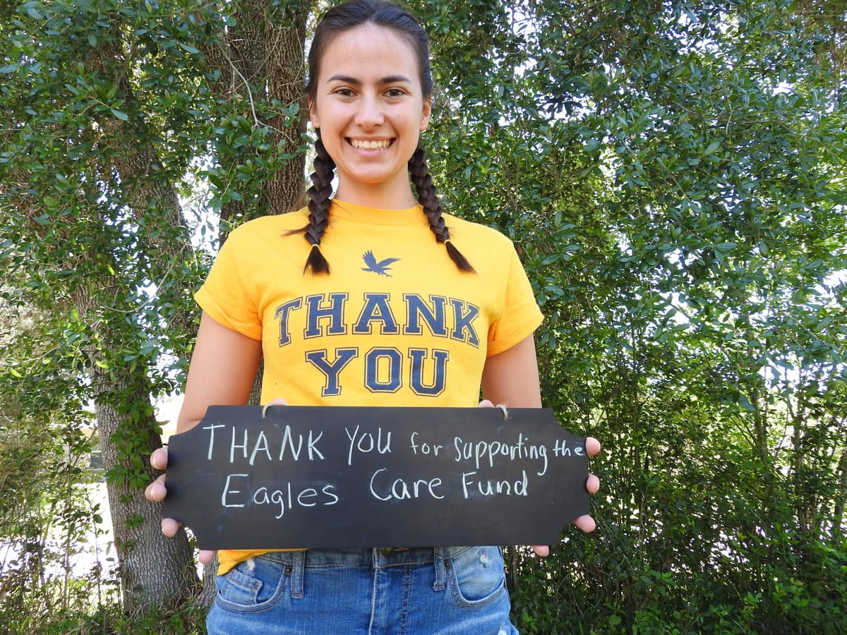 "Joelle ""Joey"" Bobinsky, a senior in Embry-Riddle's engineering program, helps support the Eagles Care Fund as a student assistant."