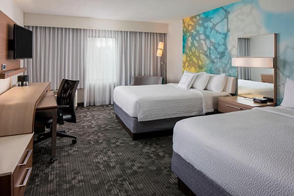 Student rooms at the family-friendly Courtyard by Marriott will be configured to function like comfortable residence hall rooms.