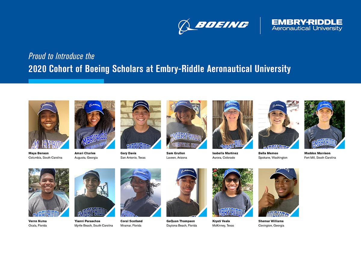 a collage of the boeing scholarship winners