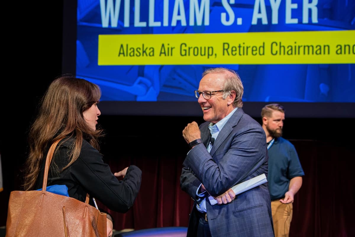 William (Bill) Ayer, retired CEO of Alaska Airlines, talked leadership and business with students at a recent Presidential Speaker Series event. (Photo: Embry-Riddle/Daniella Cabrera)