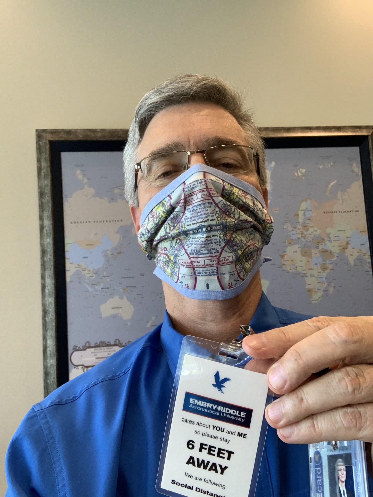 Dr. P. Barry Butler wearing an aviation face mask.