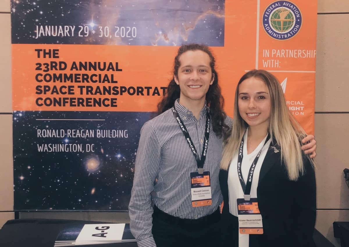 Fellow Eagle Max Cannon attended the 23rd-annual Commercial Space Transport Conference with Spaceflight Operations junior Kirsten Bauernschmidt, during her internship in Washington, D.C.