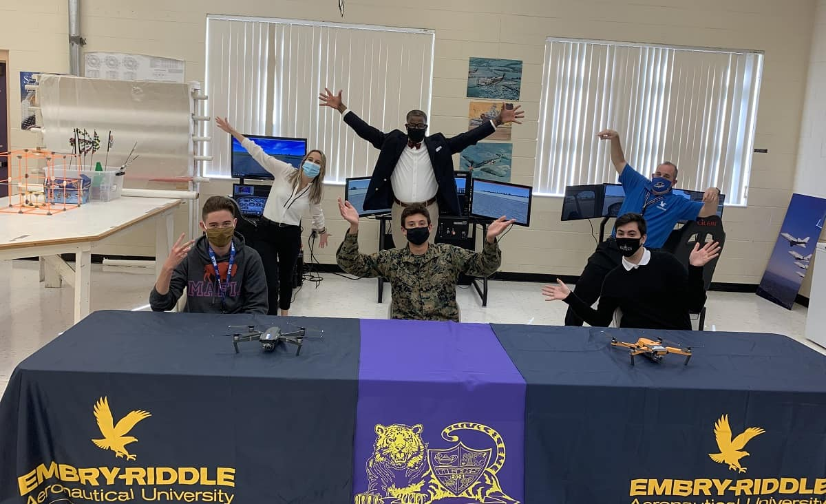 Students in the Boynton Aerospace Science Program (BASA), an aviation program offered through Boynton Beach Community High School and Embry-Riddle's Gaetz Aerospace Institute, celebrate their first-place win in the FAA's Airport Design Challenge.
