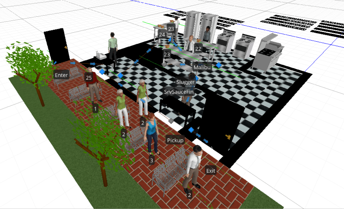 Simulation Science, Gaming & Animation undergrads from Embry-Riddle designed virtual restaurants in a recent simulation modeling competition, as a way of leveraging technology to increase the efficiency of real-world operations.