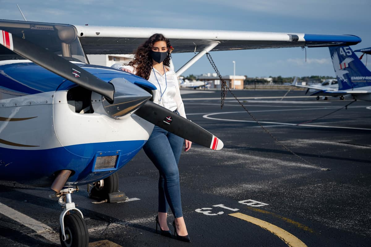 Aeronautical Science senior Victoria Calderon is president of the Embry-Riddle chapter of the Latino Pilots Association, the national group from which the Empowering Latina Leaders Aviation Subcommittee was formed.