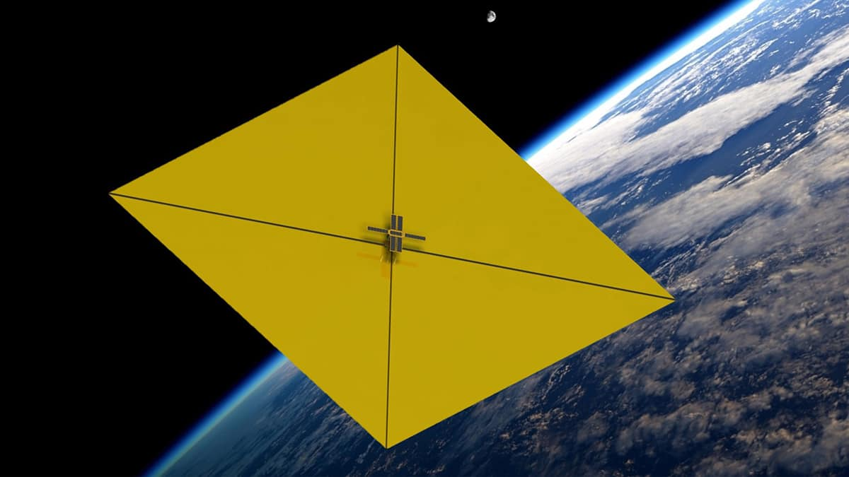 A solar-powered sail that deploys during its orbit around Earth in order to catch space debris is pictured here.  (Photo: Embry-Riddle)