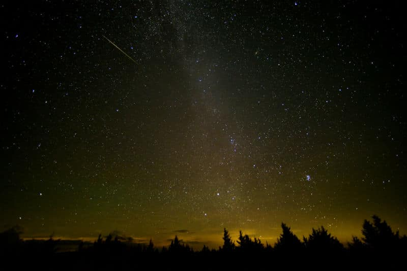A shot of the Perseid meteor shower. Photo Credit: NASA