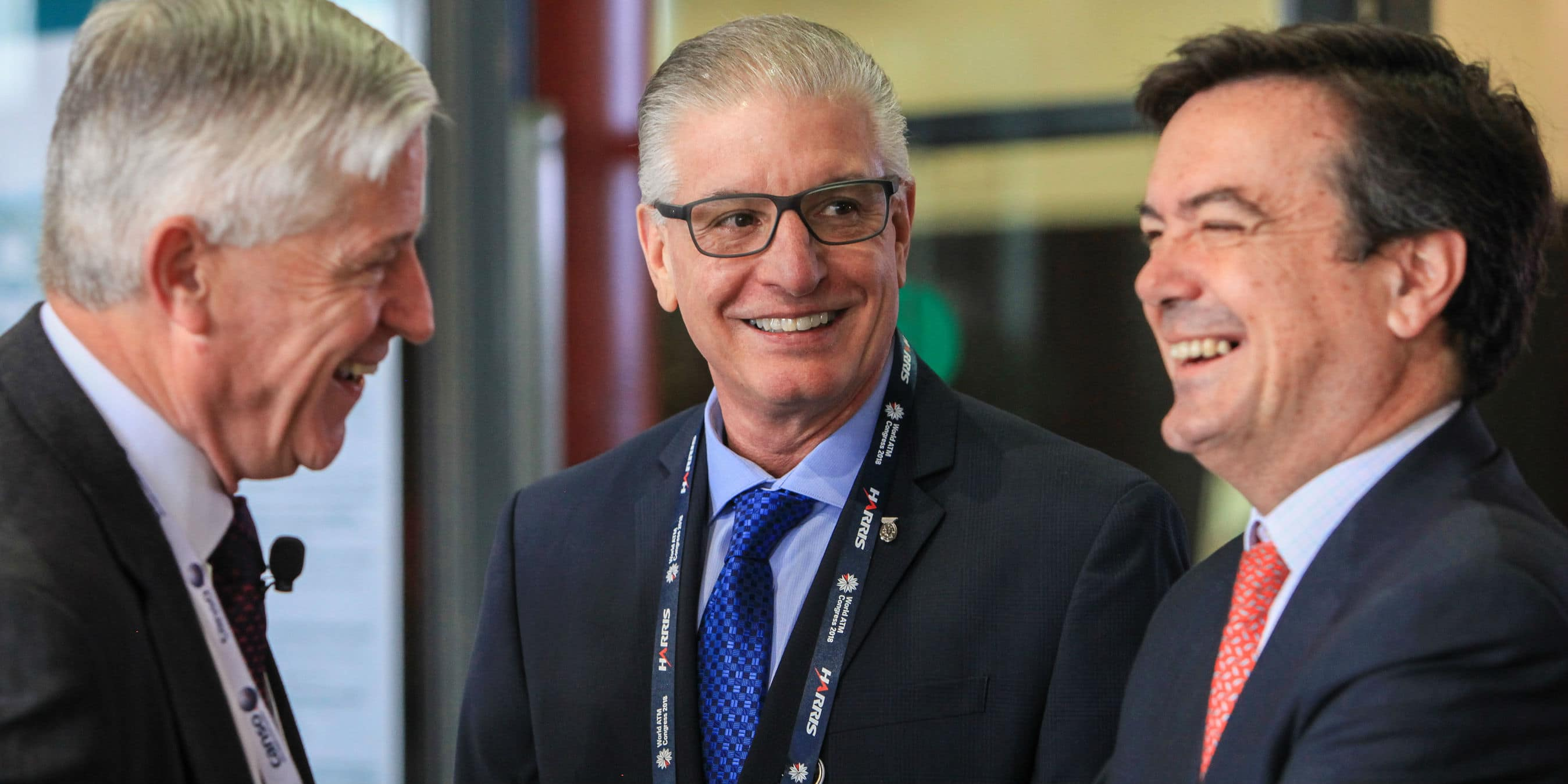 ATCA President and CEO Peter Dumont, center, at the World Air Traffic Management Conference