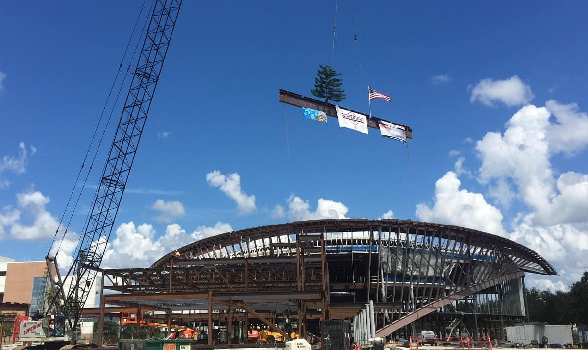 Topping Out Beam Flying